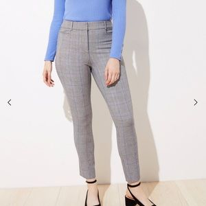 LOFT Plaid High Waits Skinny Ankle Pant Curvy Fit